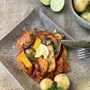 Sweet Potato, Cardamom & Lime Gratin